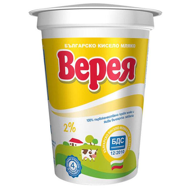 Кисело мляко Верея БДС 2% 400гр